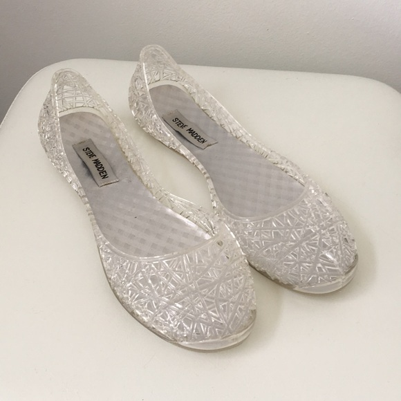 8ac7a65ab15 Steve Madden clear jelly SWIRLY flats shoes 8 WMS.  M 5abe4a012ae12f6f0844808a